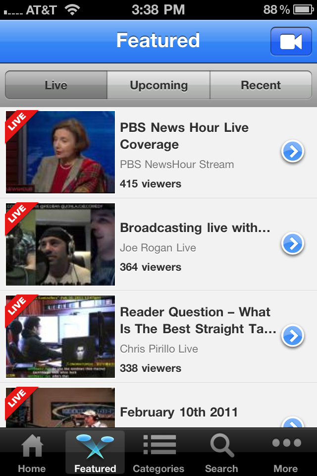 Go live and watch events with the new Ustream iPhone 4 app