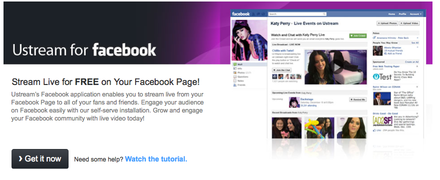 New Ustream Facebook Application