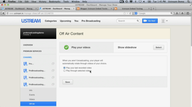 How to Add Off-Air Content to Ustream Channel