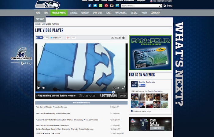 Seattle Seahawks on Ustream Embed
