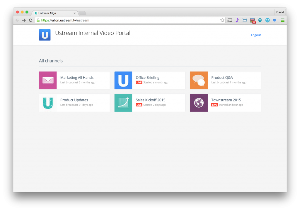 Ustream is already using Ustream Align Portal to organize our internal videos.