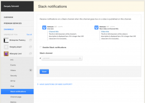 Enabling Slack notifications for the Ustream video platform