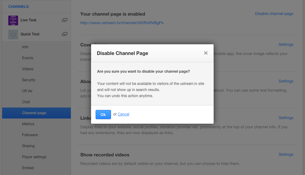 Disable Channel Page for White Label Platform