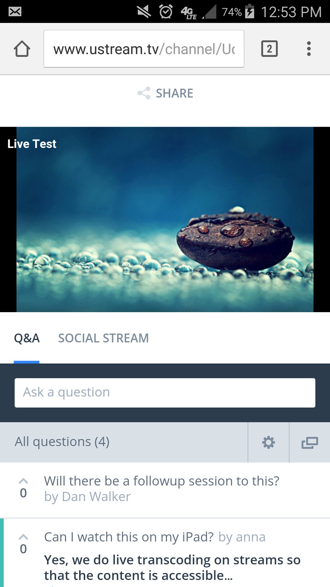 Live Q&A Module on Mobiles