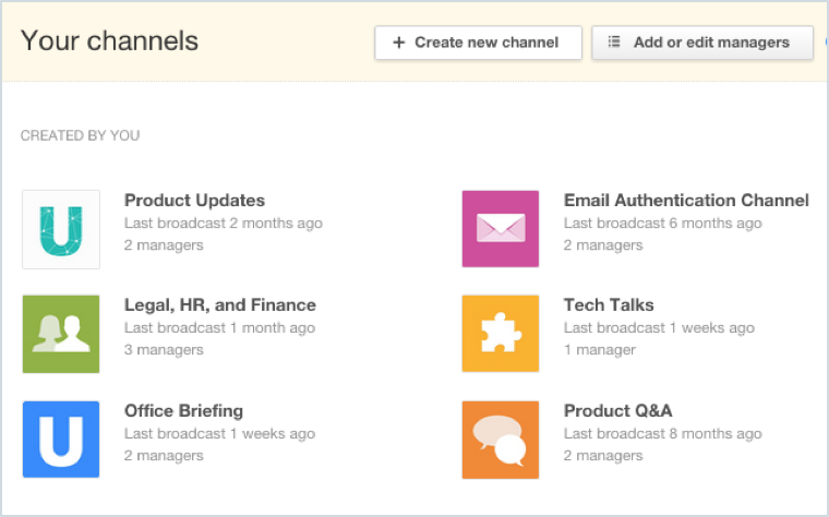 Enterprise Video Portal Channels