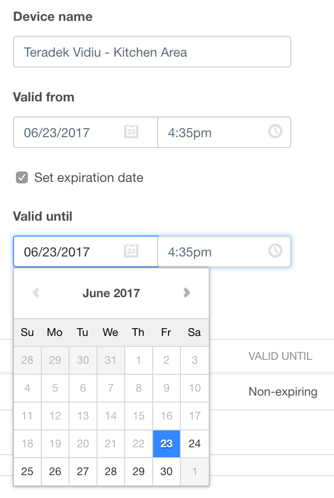 Setting Access Windows: Valid Dates