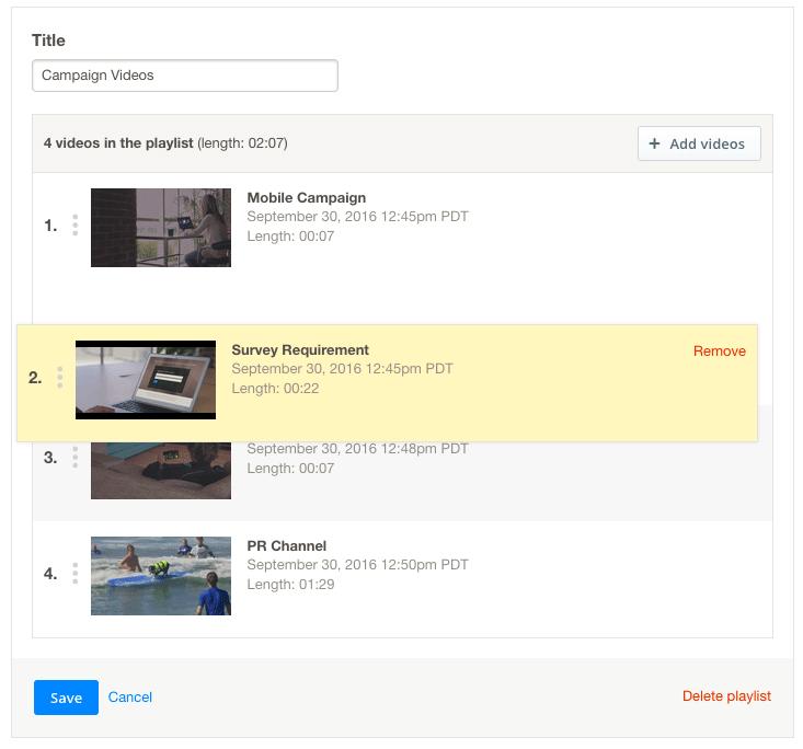 Editing a Video Playlist