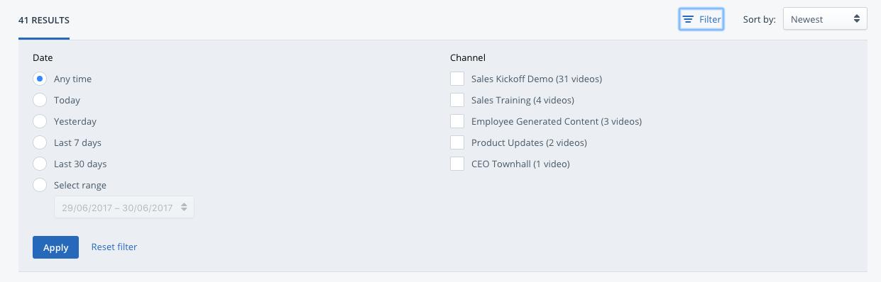 Enterprise Video Search Filters