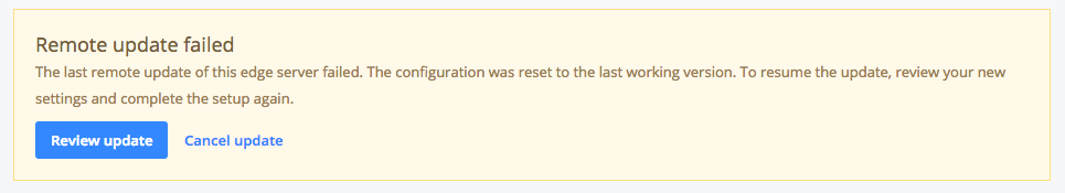 Remote Configuration of ECDN Server Settings: update failed