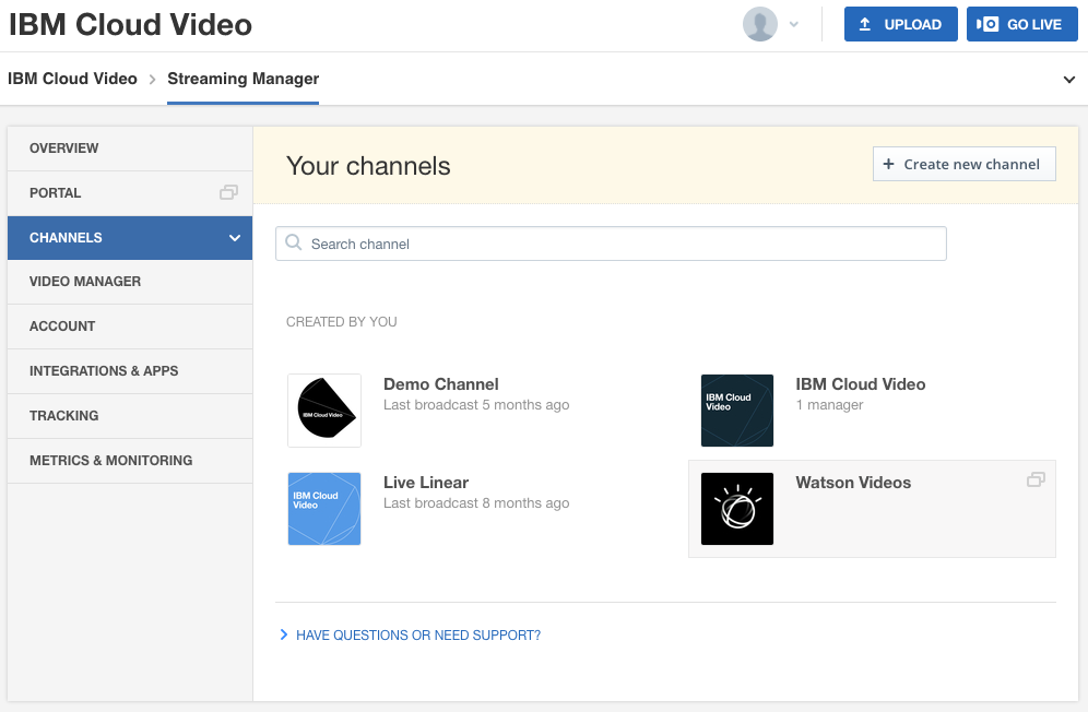 Video Platform Management: channels