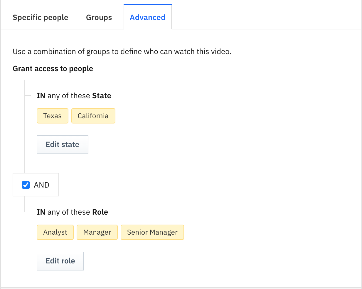 Advanced Video Access Rules