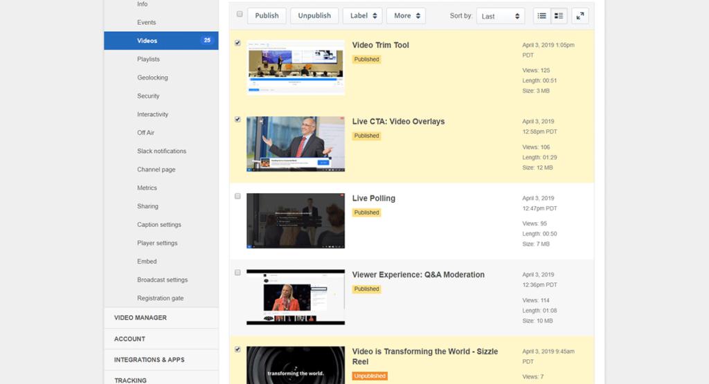 Bulk Video Publish Options