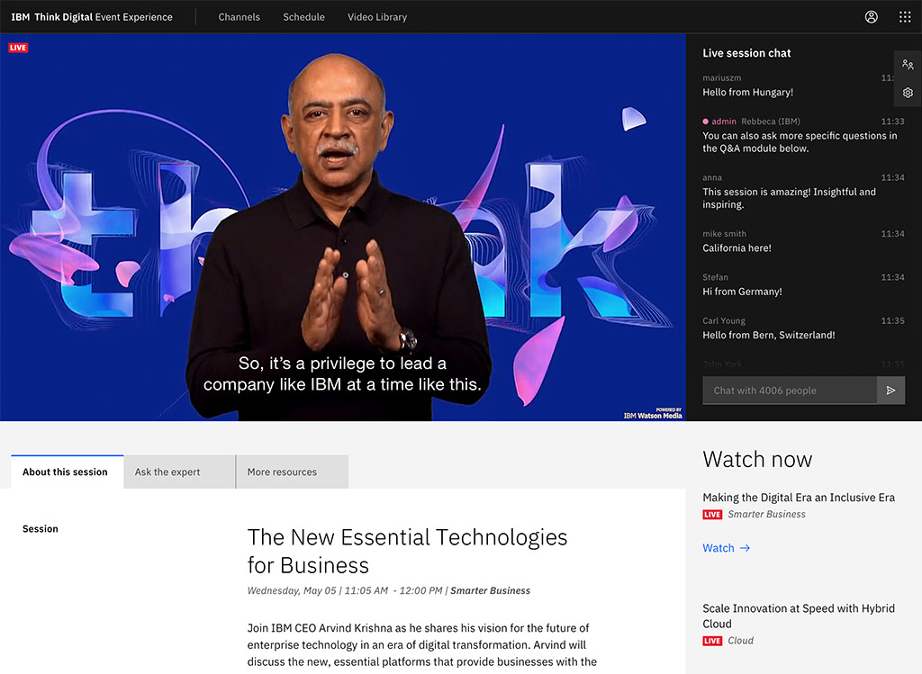 IBM Think 2020 Video Player