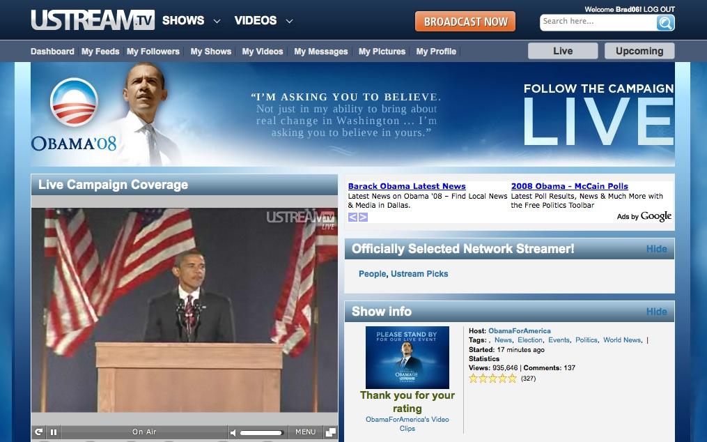 Barack Obama Channel Page for 2008