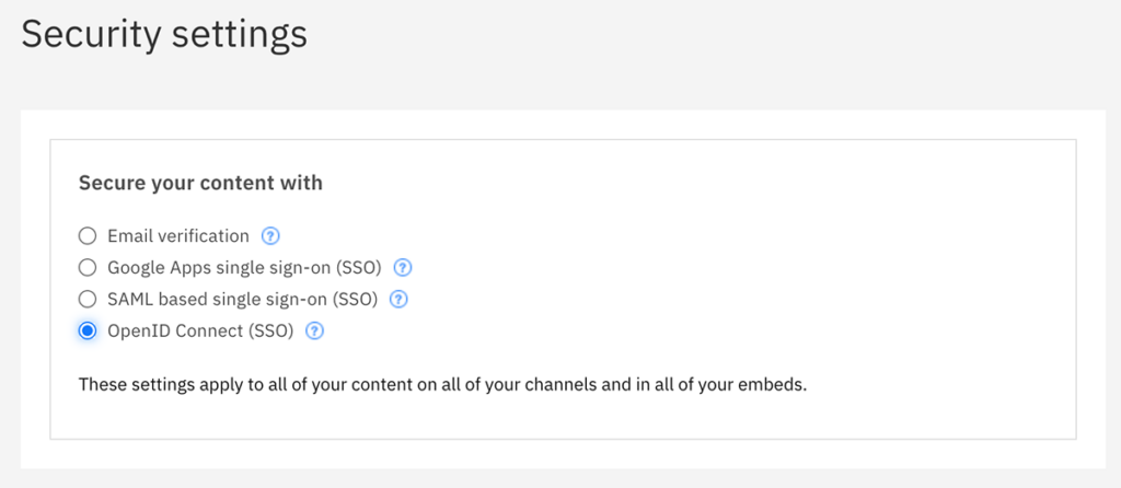 Security settings for IBM Enterprise Video Streaming